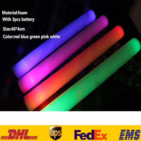 top popular LED Light Sticks New Foam Props Concert Party Flashing Luminous Sticks Holloween Christams Festival Children Toys Gifts HH-T27 2019