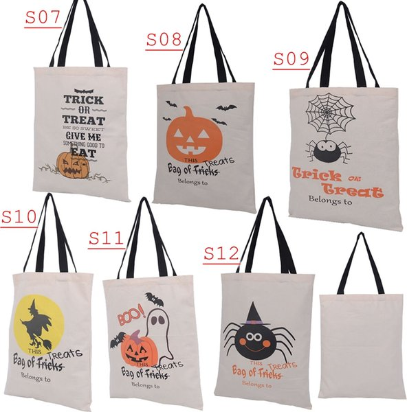 top popular 14*19inch New 6style Choose Free Halloween Hand bag Canvas bags cotton Drawstring Bags Pumpkin devil spider Hallowmas Gifts Sack Bags 2021