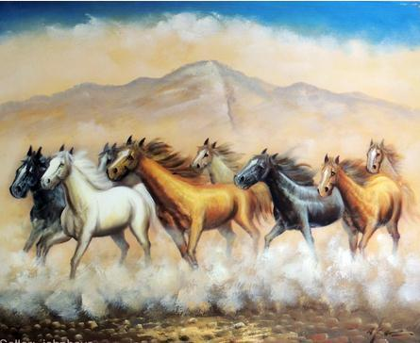 Обрамленный Западным Искусством Дикий Табун Лошадей Свободный Мустанг, Чистый Ручной Росписью Животных Маслом Холст.Multi размеры Джон