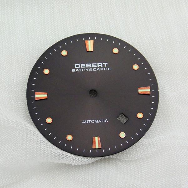 / 8215 (8205), Mingzhu DG2813 / 3804 운동 스테인레스 스틸 시계 다이얼 P549 미요의 경우 1PC Debert의 34mm 커피 시계 다이얼