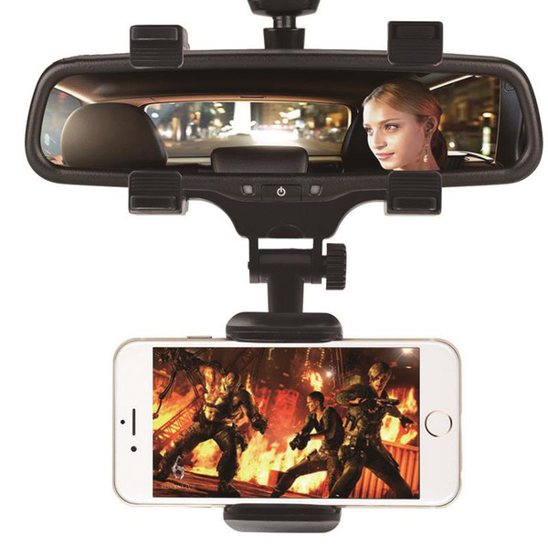 Adjustable Car GPS Rearview Mirror Auto Mount Holder Cell Phone Bracket Stands for iPhone X/8/7/6 Plus Samsung Huawei Universal Phone