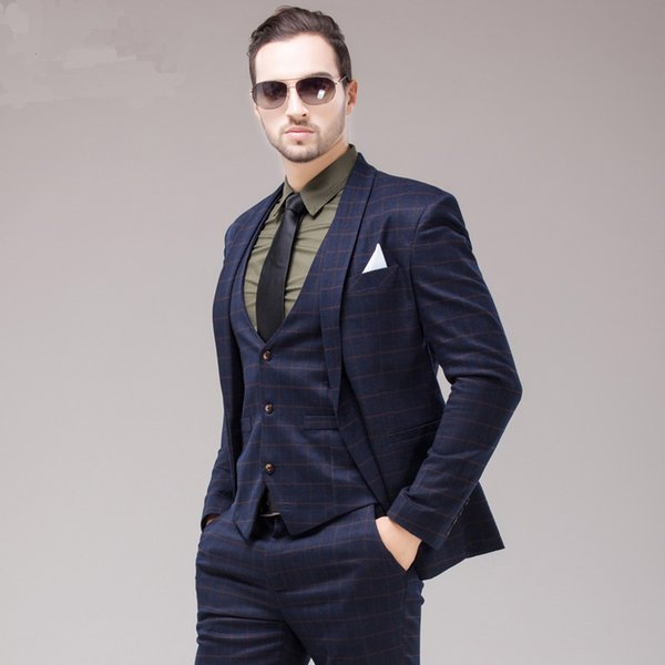 Male 3 Piece Blue Plaid Slim Suit Groom Married Formal Wedding ...