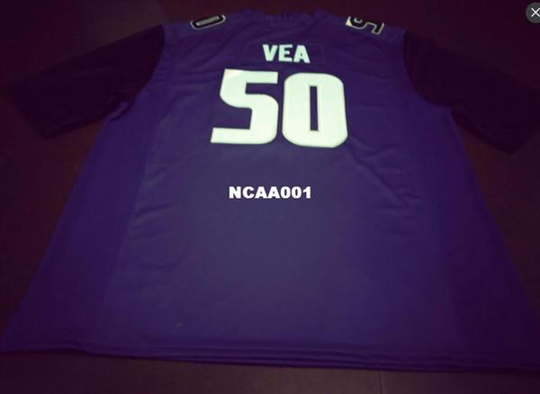 Maillot masculin # 50 Vita Vea noir, blanc ou mauve Washington Huskies Alumni College ou sur-mesure, maillot prénom ou numéro