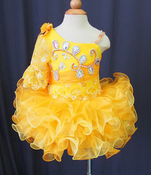 One shoulder half sleeves yellow lace beads bow flower girls cupcake little girls pageant dresses kids toddler glitz prom Infant ball gowns