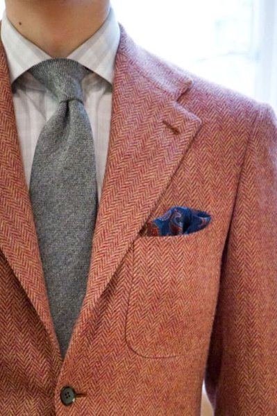 2016 New Tailored Made Red Herringbone Wool tweed tuxedos British style Mens suit slim fit Blazer wedding suits for men(suit+pant)