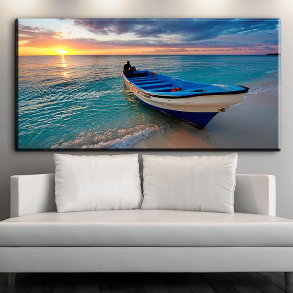 ZZ1231 modern dekoratif tuval sanat yelkenli plaj deniz manzarası için manzara tuval resimleri petrol sanat boyama salon ar ...