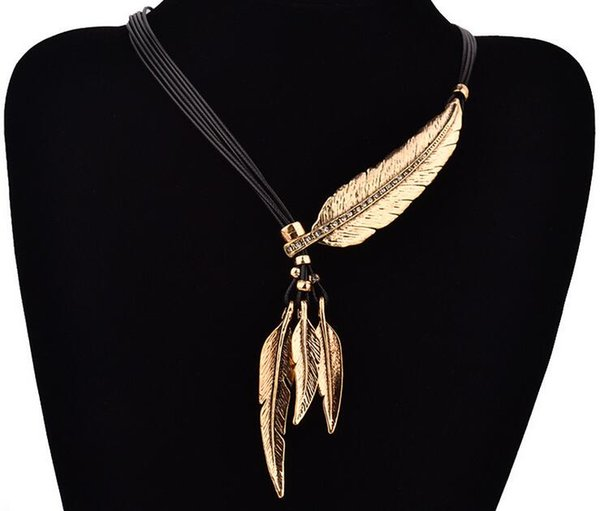 d8d2cfd64adb9 Fashion Bohemian Style Black Rope Chain Feather Pattern Pendant Necklace  For Women Fine Jewelry Collares Statement Necklace WJIA015