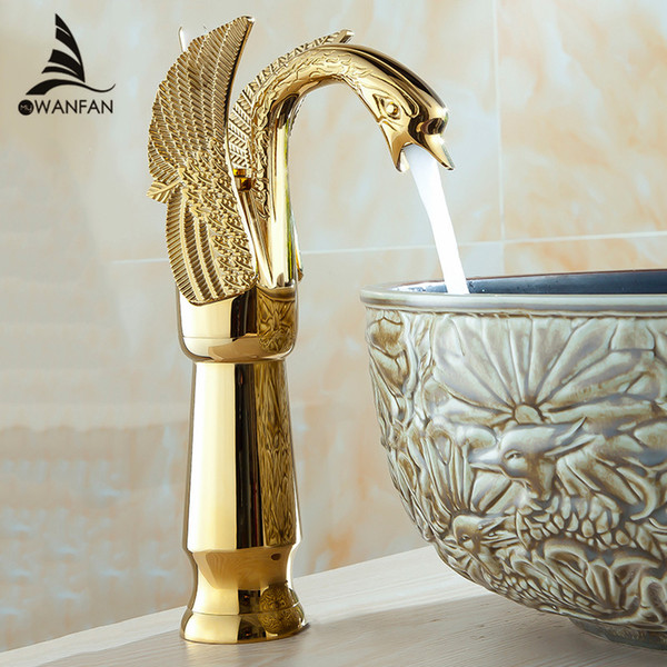 best selling Free shipping New High Arch Design Luxury Brass Hot And Cold Taps Swan Faucet Gold Plated Wash Basin Faucet Mixer Taps HJ-36K