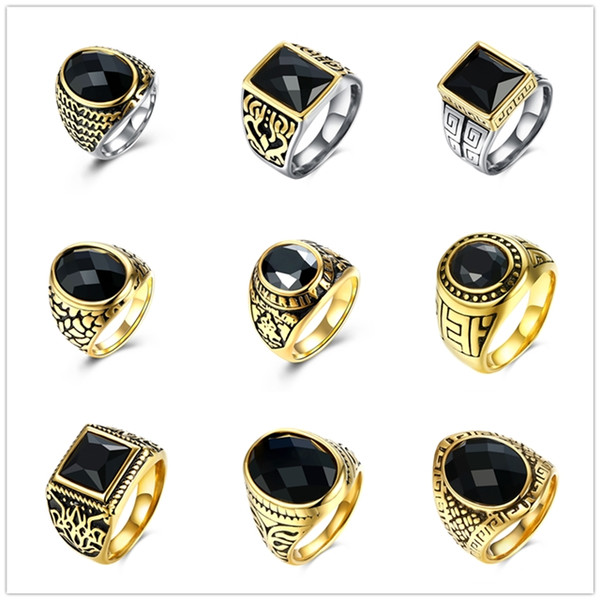Mixed Orders 316L Stainless Steel Black Glass Crystal Finger Ring Fashion Party Jewelry For Men's Christmas Gifts Free Shipping