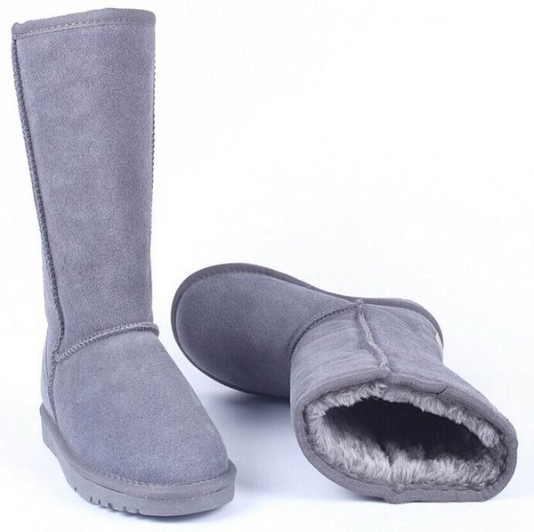 Hot Selling Winter Womens Snow Boot Tall Suede Leather Fashion Boot Lady's Nubuck Knee-High Warm Plush Long Boots Plus Size 11 12