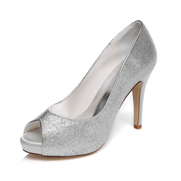 10cm Heel With Platfrom Shinny Silver Wedding Shoes Evening Shoes High Heel Bridal Shoes Party Prom Women Shoes bridal shoes Party Shoes