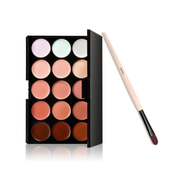 Free Shipping Hot! New Pro 15 Colors Camouflage Concealer Palette Makeup Cosmetic Concealer Brush brushed bronze bathroom accessories