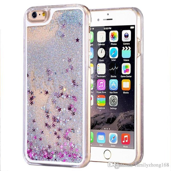 Para iphone 7 plus case Nueva venta caliente lujo brillo estrellas quicksand líquido líquido cubierta de la caja del teléfono para sansung note7 s6 s7 edge S-SW