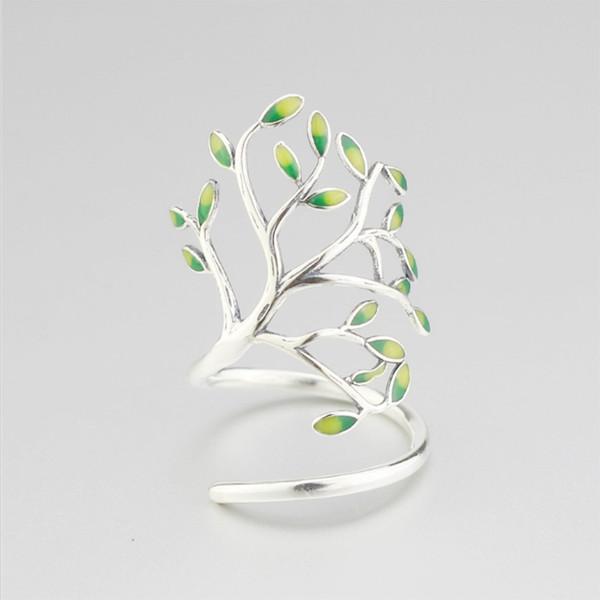 S925 Sterling Silver Adjustable Wrap CZ Open Ring Sterling Silver Leaf Ring Female Forest Retro Drop glaze design