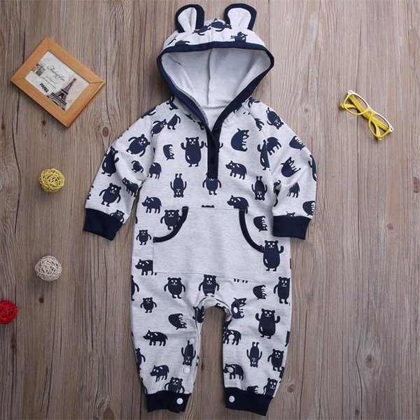 top popular Newborn kids baby boy hooded jumpsuits rompers bodysuits funny animal pajamas Autumn kid clothing playsuit with pocket 0-24M 2020