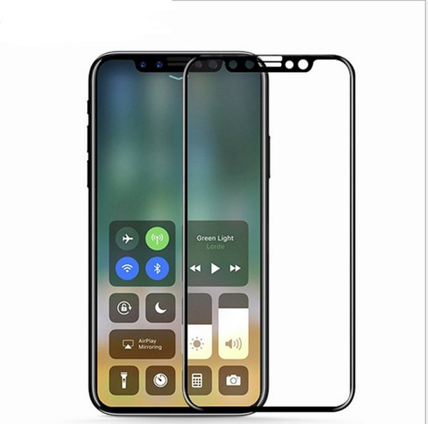 For iphone 8 9H tempered glass screen protectors carbon fiber soft edge full cover front Protective stickers for iphone x 6 6s 7 plus 8 hot