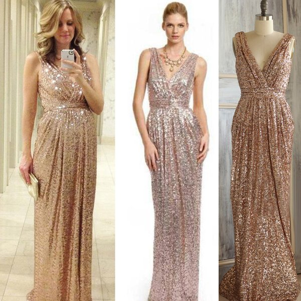b954fdcaa0d0ff 2016 Rose Gold Bridesmaid dress Long Gold Sequin Prom dress Metallic Sparkle  Evening dress, V