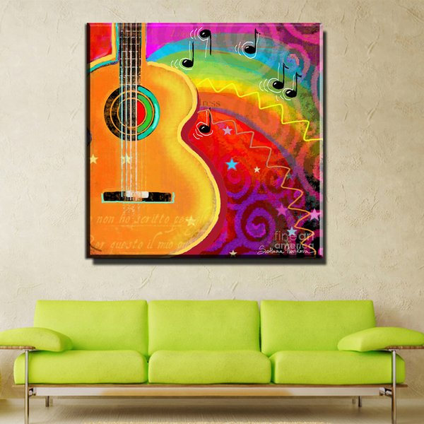 ZZ1018 modern canvas prints art colorful music art cartoon guitar canvas pictures oil art painting for livingroom bedroom decor