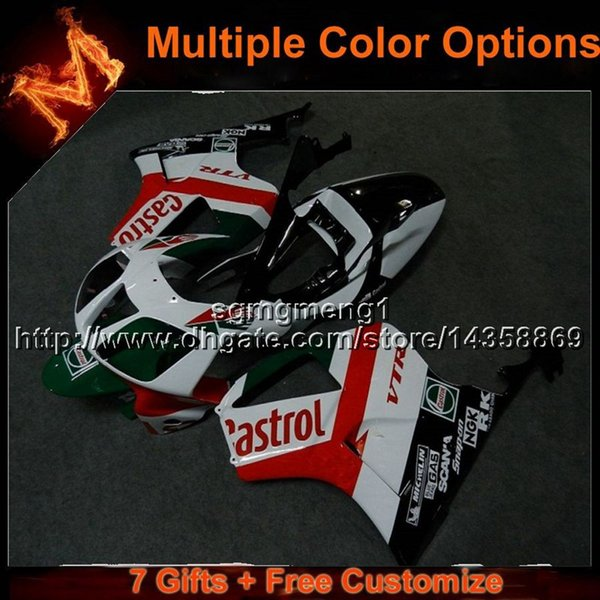 23colors+8Gifts RED WHITE motorcycle cover for HONDA RC51 2000-2006 VTR1000SP1 00 01 02 03 04 05 06 ABS Plastic Fairing