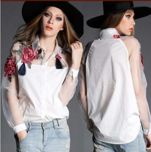 best selling NEW ARRIVAL WOMEN TURN DOWN COLLAR EURO FASHION EMBORIDERY FLOWERS ORGANZA COTTON WOMEN'S BLOUSE LADY ELEGANT CASUAL SHIRT & BLOUSE