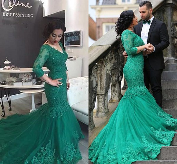 2017 Newest Green Mermaid Evening Dresses V Neck 3/4 Long Sleeves Appliques Sequins Beaded Tulle Plus Size Corset Prom Dresses Formal Gowns