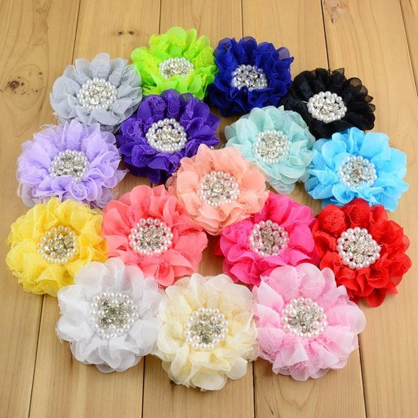 24pcs 3.5 inch DIY Girls Hair Flowers Without Clip Multi-layers Chiffon Mesh Lace hair accessories Pearls flower For Baby Kids headband B141