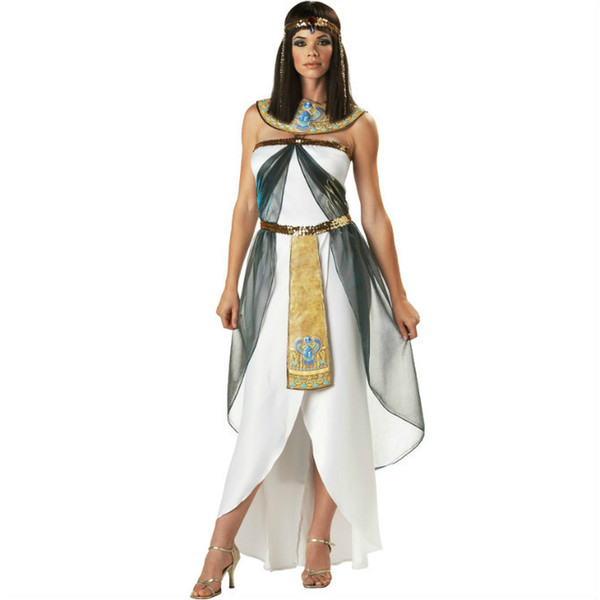 free shipping adult woman costumes halloween cosplay greek goddess sexy cleopatra egyptian queen arab young woman