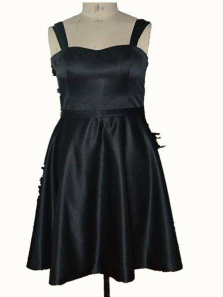 Real Pictures querida cetim vestidos curtos plissado preto elegante bonito Sext Evening vestidos de festa Guest Dress