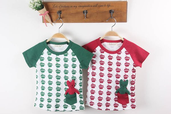 2016 Summer New Boys And Girls Short-Sleeved Shirt Apple Print Two Colors Kids Top T-Shirt Cotton Short-Sleeved T-Shirt Red Green clothes