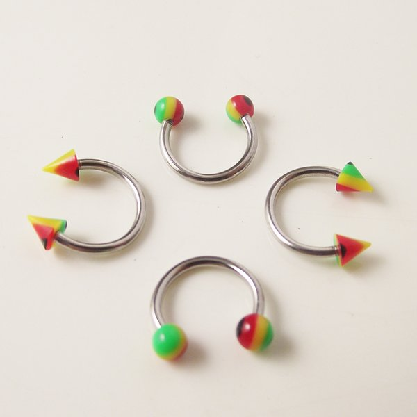 100pcs Stainless Steel Nose Ring Circular piercing Rainbow ball Spike Horseshoe Rings CBR ring BCR earring