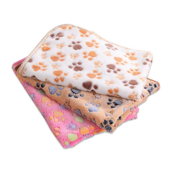 75 * 50 cm 104 * 76 cm Bonito Floral Paw Print Cachorro Filhote de cachorro de Lã Macia Pet Cobertor Camas Quente Dog Mat Pet Cat Mats