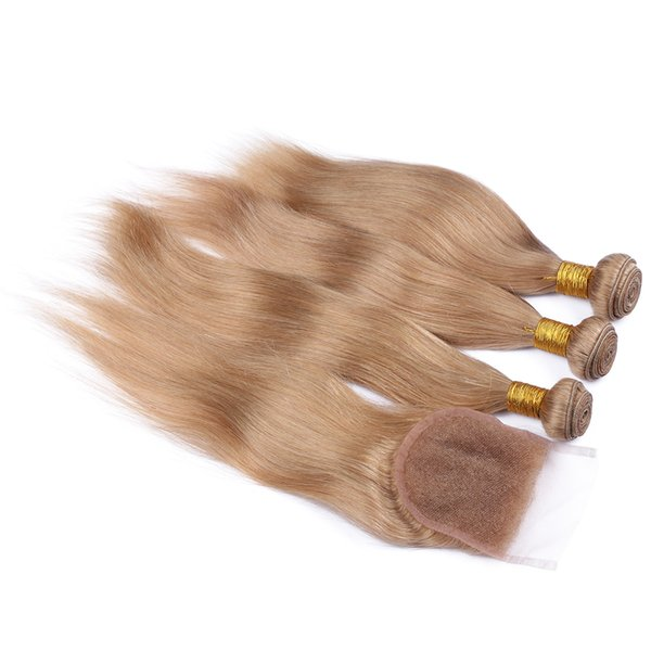 8A Brazilian Honey Blonde Straight Hair With Lace Closure 4Pcs Lot #27 Blonde Human Hair 3Bundles With 4*4 Free Part Closure