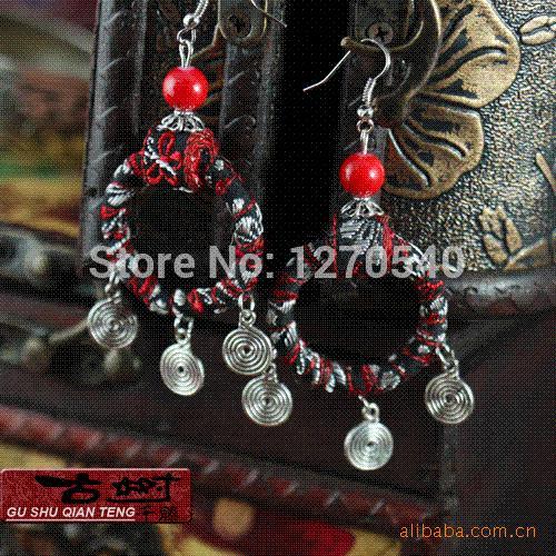 women tibetan jewelry fashion handmade ethnic fabric wooden earrings ,new thailand dangle vintage embrodiery earrings earrings bracelet