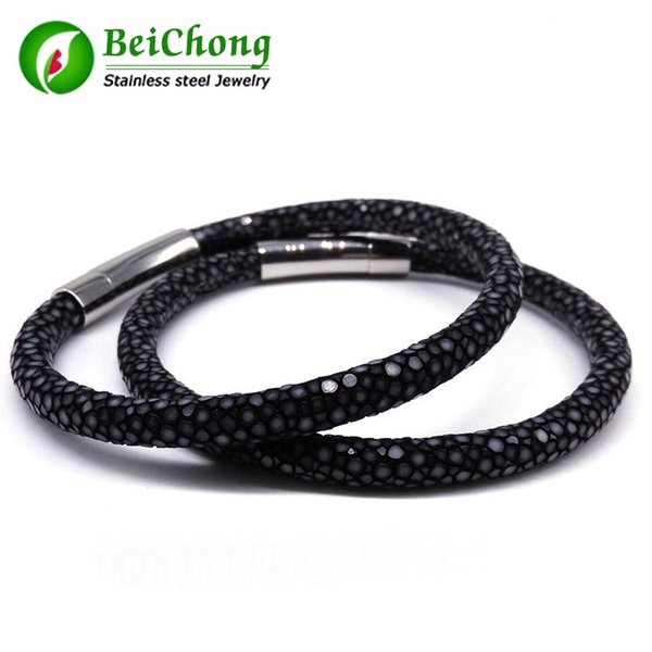 BC Customized Luxury man jewelry bangle & Bracelet New Arrival baseball stingray skin leather