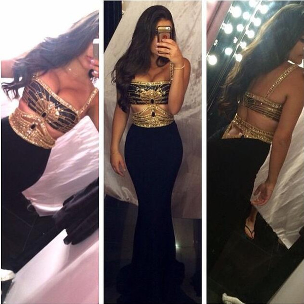 2018 New Design Sexy Mermaid Prom Dresses Straps Backless Gold Beaded Cut Out Gold Black Party Gowns Formal Dresses