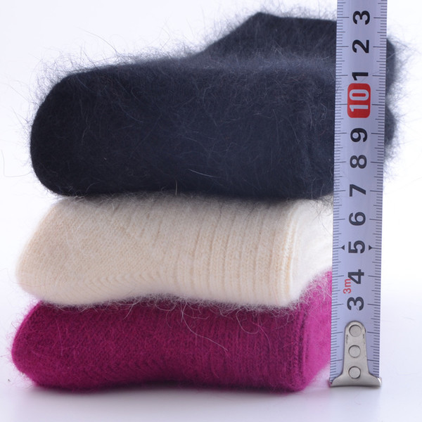 best selling women thick rabbit wool socks for autumn winter warm thickening lamb wool socks thermal sweet solid sock for women