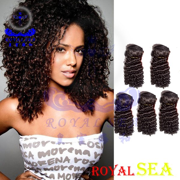 "Brazilian Peruvian Malaysian Indian Hair Weft Weave 100% Unprocessed Hair 8""-30"" Kinky Curly Natural Color Hair Extensions 5pcs lot"