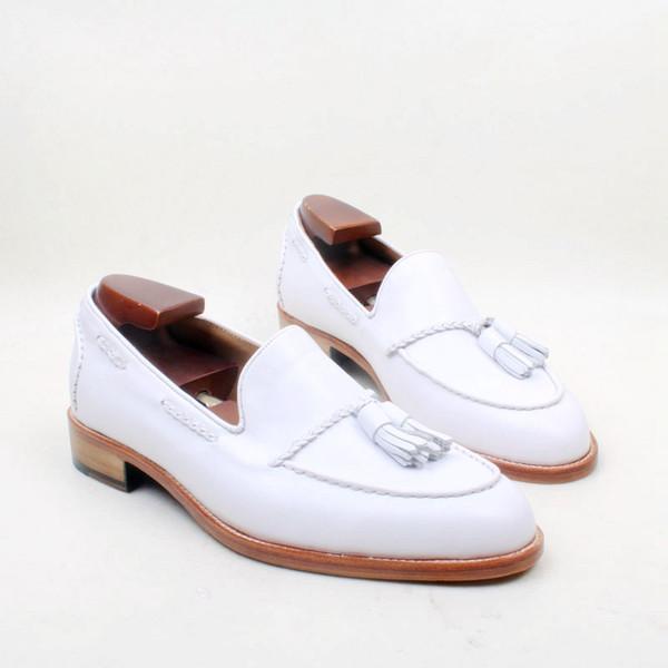 Herren Freizeitschuhe Loafers Schuhe Benutzerdefinierte handgefertigte Schuhe Quasten Slip-on Schuhe Runde Spitze Echtes Leder Farbe weiß HD-N132
