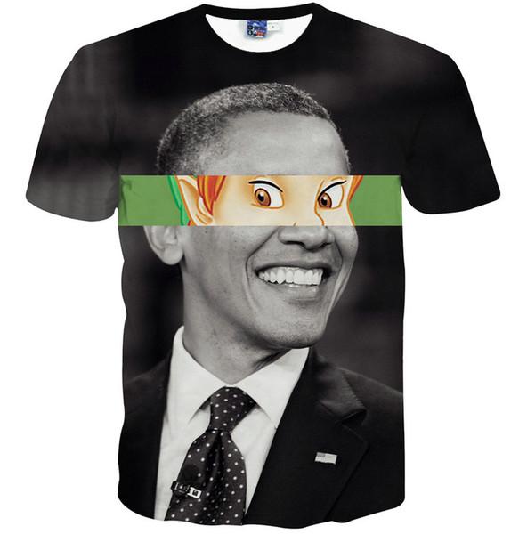 Obama eye T shirt Funny designer short sleeve gown Nice leisure tees Street printing clothing Unisex cotton Tshirt