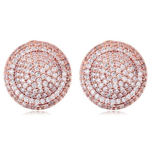 Earrings Jewelry Fashion Women Luxury High Quality 18K Gold Plated Zircon Circles Stud Earrings Wholesale Free Shipping TER041