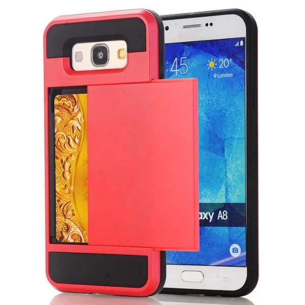 Custodia Ibrida ID Credit Cards Box per Samsung Galaxy A310 A510 A710 A5 A5 A7 Core Prime G360 NOTE4 S5 Custodia scorrevole TPU PC Cover rigida per PC