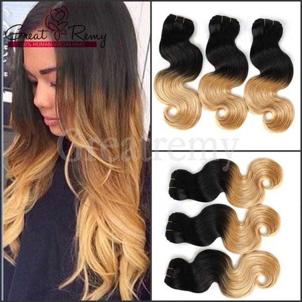 Greatremy® Ombre Hair Extensión del pelo humano peruano Wave Ombre Dip Dye Dos tonos # 1B / # 27 Armadura del pelo Trama 8A 3pcs / lot gota Envío