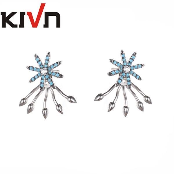 KIVN Fashion Jewelry Pave CZ Cubic Zirconia Bridal Wedding Earring Ear Jackets for Women Birthday Christmas Gifts