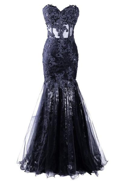 Appliques Beaded Vestido Longo Mermaid Evening Dresses High Quality Sweetheart Tulle Celebrity Party Dresses Vestido De Festa