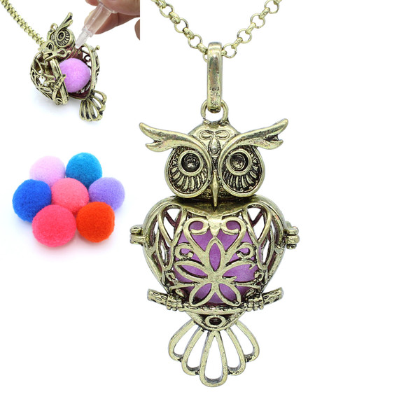 """Bronze Owl Heart Hollow Locket Pendant Release Cotton Balls Aromatherapy Essential Oil Diffuser 30"""" Chain Necklace Charms Jewelry"""