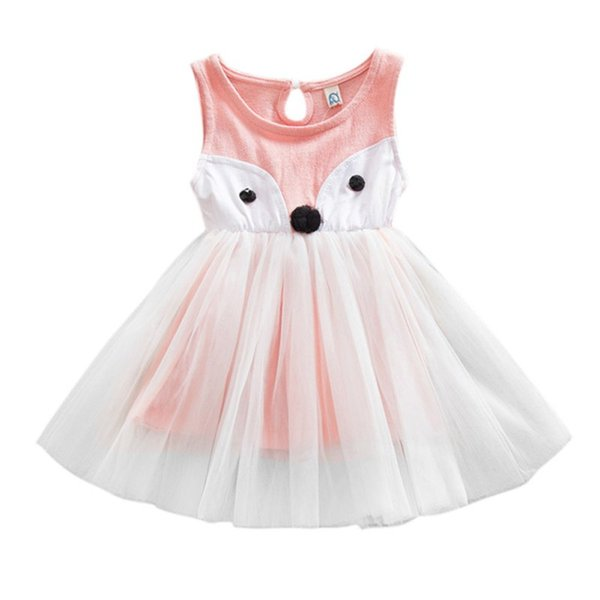 Wholesale- New Fashion Fox Style Toddler Girls Dresses Baby Princess Tulle Summer Dress Party Costumes Hot