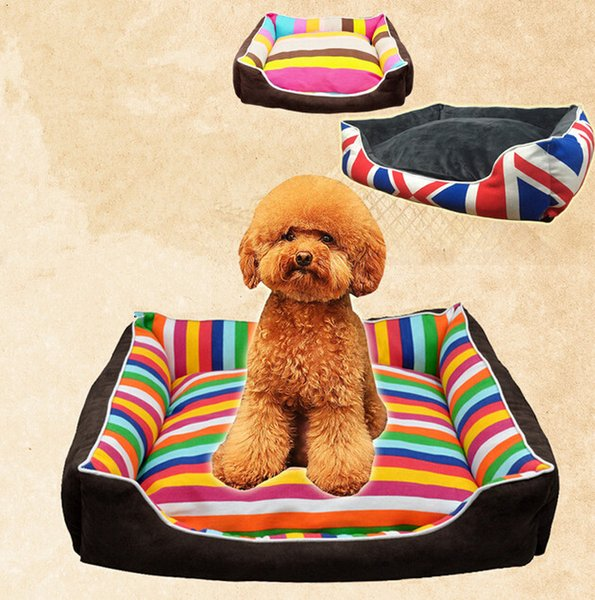 Lovely Rainbow Stripe Pet House Warm Good Quality Dog Cat House Kennel Soft Washable Pet Nest For Winter Coffee Color 4 Size Min Order 1PCS