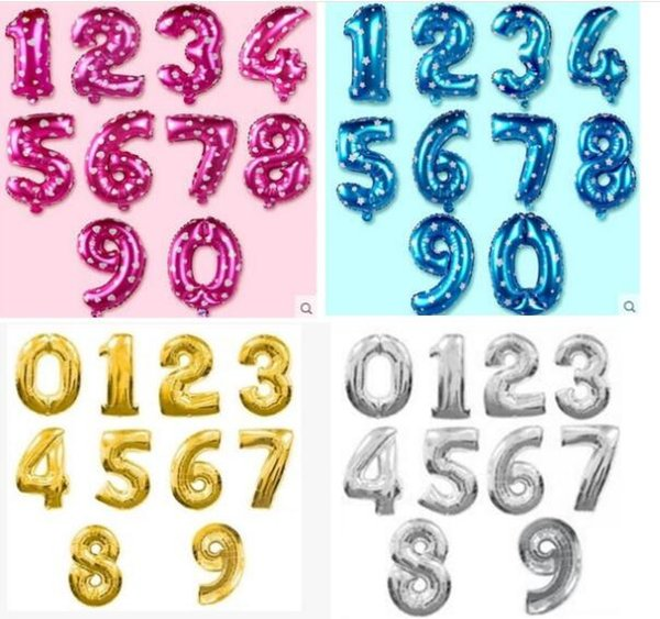 32 Inch Helium Air Balloon Number Letter Shaped Gold Silver Inflatable Ballons Birthday Wedding Decoration Event Party Supplies