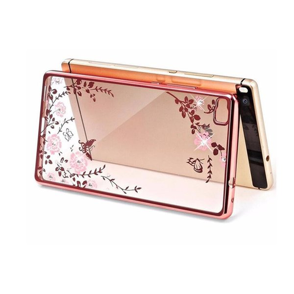 Para Huawei P20 P10 P8 Lite 2017 Secret Garden Flowers Rhinestone cajas del teléfono Rose Gold Plating TPU Volver Funda de la caja