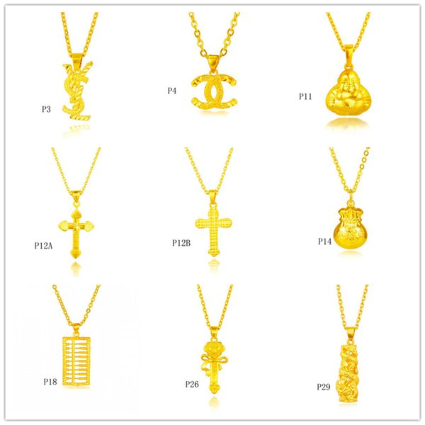 top popular Wholesale fashion 24k gold pendant (not contain chain )9 pieces a lot mixed style, cross abacus Fukubukuro yellow gold pendant DFMKP9 2019